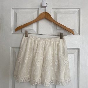 Abercrombie Kids Cream Floral Lace Skirt